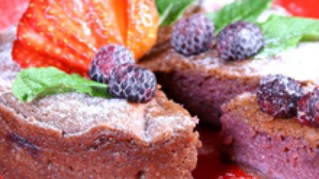 Torta de Chocolate e Frutas Vermelhas