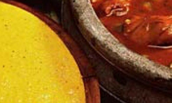 Frango com quiabo e angu