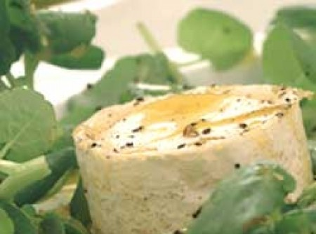 Salada de queijo de cabra e agrião