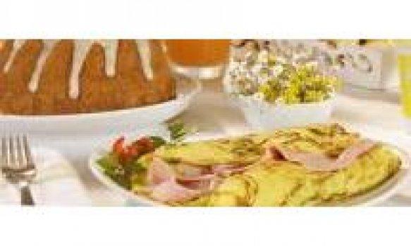 Omelete de Presunto, Alho-Poró e Tomate Fresco