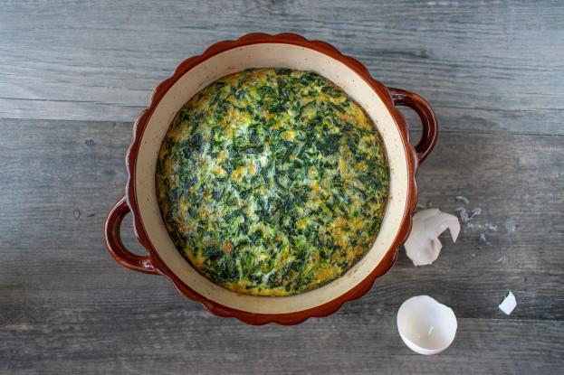 Suflê de espinafre com queijo gorgonzola e parmesão