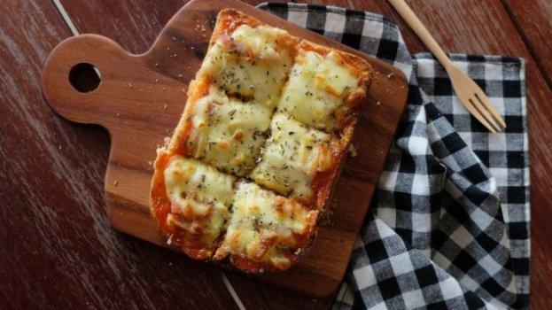 Pizza de Pão no Microondas