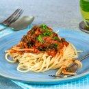 Espaguete com Molho Rústico de Sardinhas
