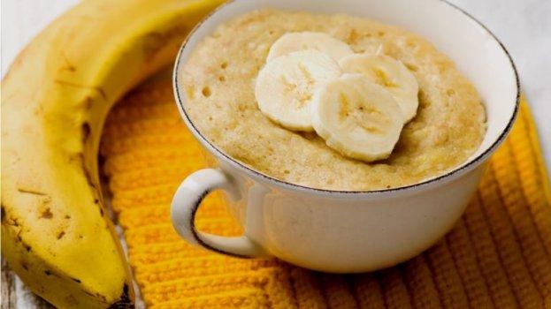 Bolo Proteico de Banana na Caneca