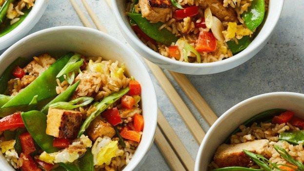 Arroz com Tofu e Legumes