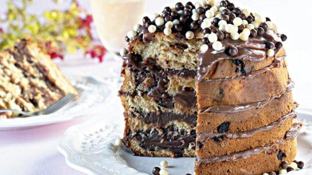 Naked Cake de Panettone de Chocolate