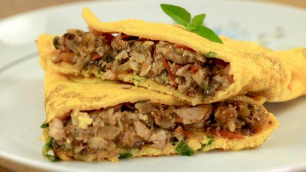 Omelete com Sardinha Refogada