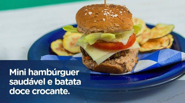 Mini Hambúrguer Saudável e Batata Crocante