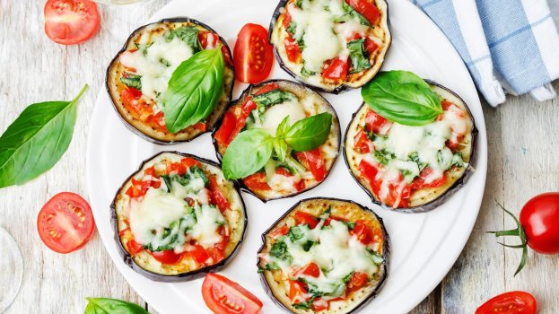 mini pizza low carb com beringela/cybercook