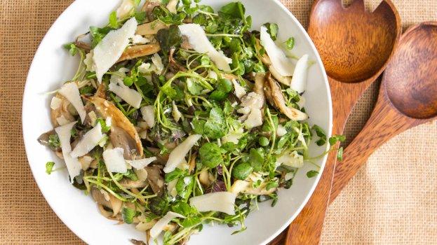 Salada de Cogumelos com Agrião